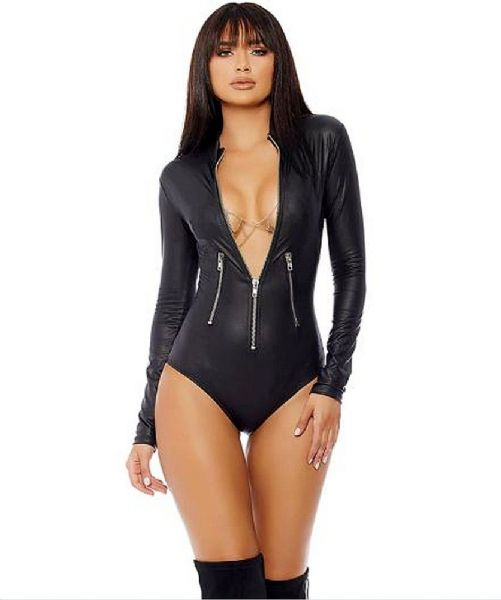 Womens Sexy Bodysuit - Zip-up Front Black Bodycon - Zabardo